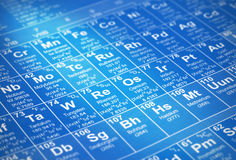 Element table. A periodic table of chemical elements with details of atomic numbers, element symbols and element names with creative lighting stock photo