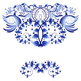 Element template for greeting card or invitation with blue painted with flowers and birds. Stock Photography
