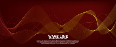 Orange Sound wave line curve on red background. royalty free stock photography