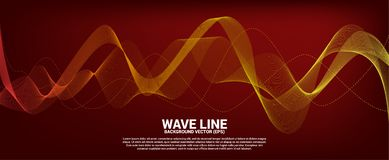 Orange Sound wave line curve on red background. royalty free stock images