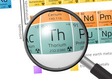 Element of Thorium with magnifying glass Stock Photography