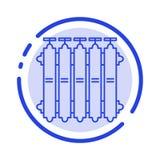 Element uppvärmning, batteri som är varmt, blå prickig linje linje symbol för värme vektor illustrationer