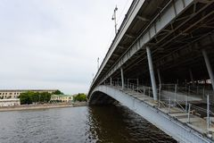 Element of urban architecture. Details of the modern bridge over the river. Moscow royalty free stock photography