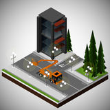 Element of urban infrastructure. Vector isometric illustration of an element of urban infrastructure. Mobile elevating work platform on the streets of the town Royalty Free Stock Photos