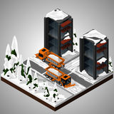 Element of urban infrastructure. Vector isometric illustration of an element of urban infrastructure. Snowplow machines clean the roadway. Front and rear view stock illustration