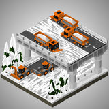 Element of urban infrastructure. Vector isometric illustration of an element of urban infrastructure. Snowplow machines clears snow from the road interchange royalty free illustration