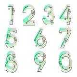 Element ustawiający dziesięć liczb formy zero, dziewięć, numerowy płaski projekt Zdjęcia Stock