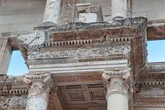 Element van Celsus-Bibliotheek, Ephesus, Turkije Stock Afbeelding