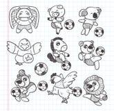 Element van de krabbel het dierlijke voetballer Stock Foto's
