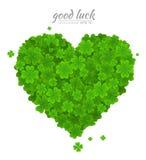 Element van het de Dag het vectorontwerp van heilige Patricks Groen hart van de gelukkige die klaver of de klaver op witte achter Royalty-vrije Stock Afbeelding