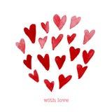 Element van het de dagontwerp van waterverf het artistieke hand getrokken Valentine vector illustratie