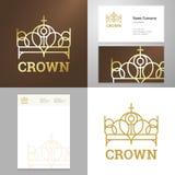 Element van het het pictogramembleem van de ontwerp het gouden kroon met adreskaartje vector illustratie