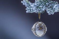 Element van ontwerp De bal van luxekerstmis op Kerstmisboom Naar huis het gemaakte Kerstmisbal hangen op pijnboomtakje Royalty-vrije Stock Afbeeldingen