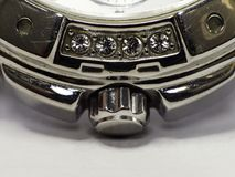 Element of the watch with precious stones stock images