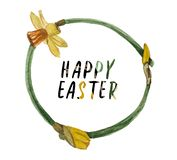 Watercolor wreath of daffodils on the theme of spring and Easter. royalty free stock photo