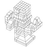 Element Wireframe Mesh Cubes Stockbilder