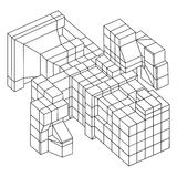 Element Wireframe Mesh Cubes Lizenzfreies Stockbild