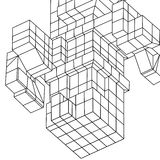 Element Wireframe Mesh Cubes Stockbild