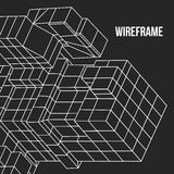 Element Wireframe Mesh Cubes Stockfotos