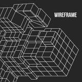 Element Wireframe Mesh Cubes Stockfotos