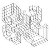 Element Wireframe Mesh Cubes Lizenzfreies Stockfoto