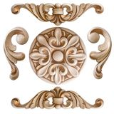 Element woodcarving. furniture in classic style. white tree with gold trim. patina. carving. small depth of field. Luxury furniture. isolated on the white royalty free stock images