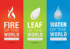 Element of the world, Fire leaf water icon symbol sign. Creative Royalty Free Stock Photo