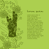 Element yoga apan Prithivi mudra hands with mehendi patterns. Stock Photography