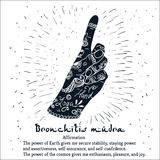 Element yoga Bronchitis mudra hands with mehendi pattern Stock Photo