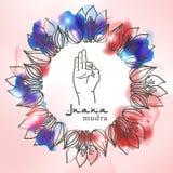 Element yoga jnana mudra hands with mehendi patterns Royalty Free Stock Image