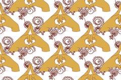 Element yoga kalesvara mudra hands with mehendi patterns Royalty Free Stock Photography