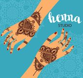 Element yoga mudra hands with mehendi patterns. Vector illustration for a yoga studio, tattoo, spas, postcards, souvenirs. Indian stock illustration