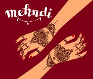 Element yoga mudra hands with mehendi patterns. Vector illustration for a yoga studio, tattoo, spas, postcards, souvenirs. Indian traditional lifestyle Stock Images
