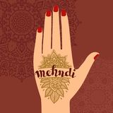 Element yoga mudra hands with mehendi patterns. Vector illustration for a yoga studio, tattoo, spas, postcards, souvenirs. Indian traditional lifestyle Stock Photo