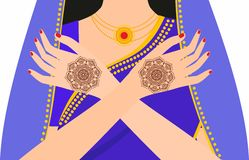 Element yoga mudra hands with mehendi patterns. Vector illustration for a yoga studio, tattoo, spas, postcards, souvenirs. Stock Photos