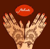Element yoga mudra hands with mehendi patterns. Vector illustration for a yoga studio, tattoo, spas, postcards, souvenirs. Indian. Traditional lifestyle Stock Photos