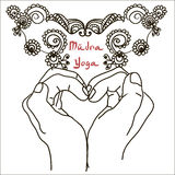 Element yoga mudra hands with mehndi patterns. Stock Image