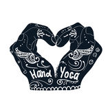 Element yoga mudra hands with mehndi patterns. Stock Photos
