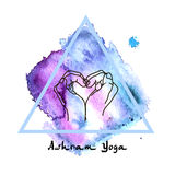 Element yoga mudra hands with mehndi patterns. Royalty Free Stock Photos