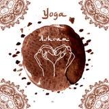 Element yoga mudra hands with mehndi patterns. Stock Photo