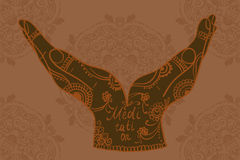 Element yoga mudra hands with mehndi patterns. Stock Photography