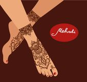 Element yoga mudra legs with mehendi patterns. Vector illustration for a yoga studio, tattoo, spas, postcards, souvenirs. Indian t Stock Photography