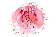 Element yoga Prithivi mudra hands Stock Image