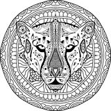 Element for your design. National ethnic circular pattern with the head of a Cheetah. Coloring page Stock Image