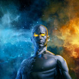 Elemental galactic hero. 3D illustration of half stone half metal male figure with space background Royalty Free Stock Photography
