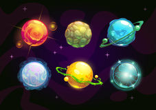 Elemental planets, fantasy space set. Vector illustration Royalty Free Stock Photography