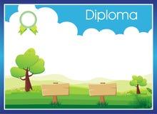 Elemental preescolar - fondo del certificado del diploma de la guardería Fotos de archivo libres de regalías