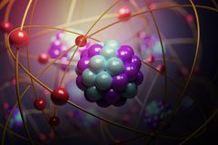 Elementarteilchen im Atom Physikkonzept 3D übertrug Abbildung Stockfotografie