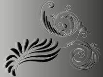 Elementary abstract black and white floral ornament for design Stock Photography