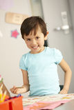 Elementary Age Schoolchild In Art Class Stock Image